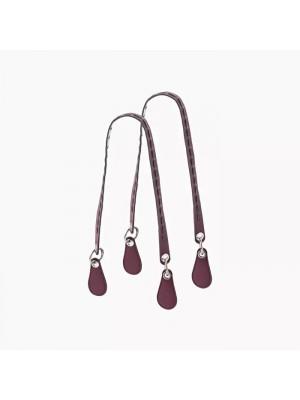.anses longues plates faux cuir entrelacs avec anneau métal
