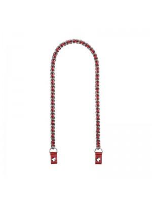 .chaîne argent et lien faux cuir entrelacé avec clips