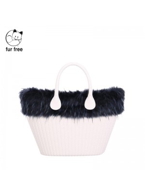 O bag knit mini .bordure fausse fourrure marmotte
