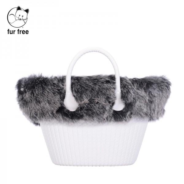 O bag knit mini .bordure fausse fourrure renard