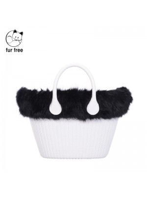 O bag knit mini .bordure fausse fourrure renard