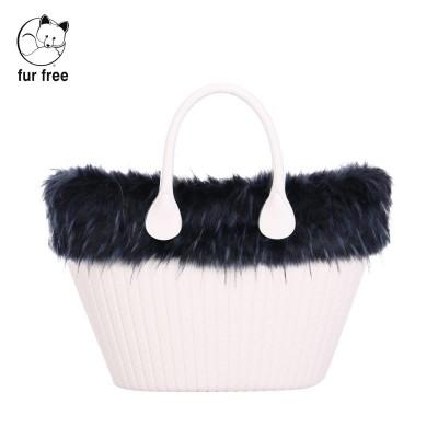 O bag knit .bordure fausse fourrure marmotte