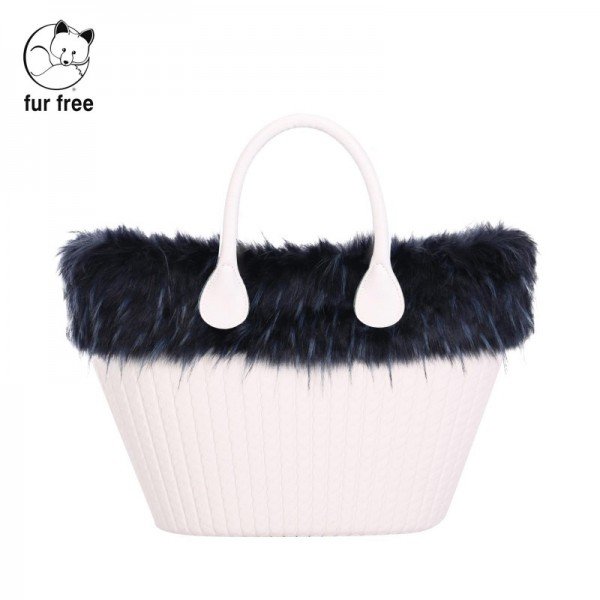 O bag knit .bordure fausse fourrure marmotte