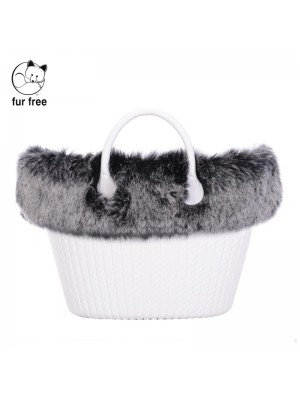 O bag knit .bordure fausse fourrure renard