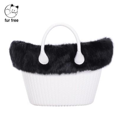 O bag knit .bordure fausse fourrure renard