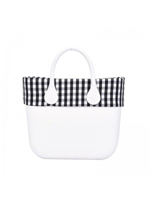 O bag mini .bordure vichy blanc / noir