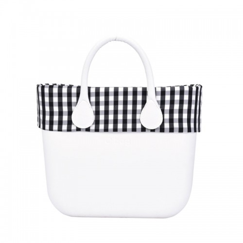 O bag mini .bordure vichy blanc / noir