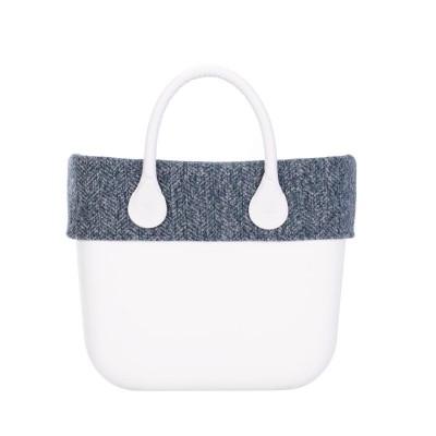 O bag mini .bordure tissu laineux chevrons / bleu-vert
