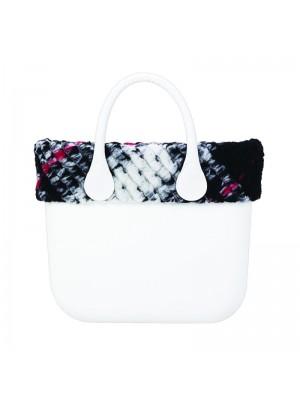 O bag mini .bordure tissu laineux à carreaux / blanc-noir-rouge