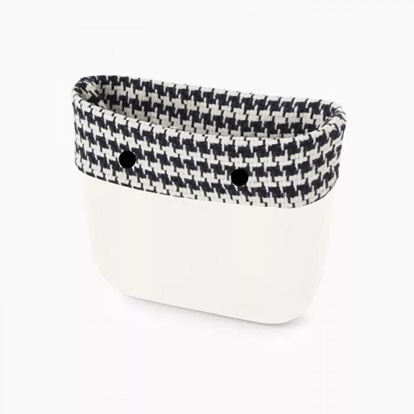 O bag mini .bordure tissu pied-de-poule
