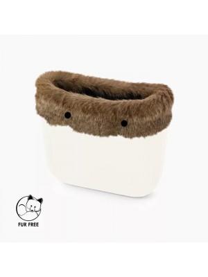 O bag mini .bordure fausse fourrure castor