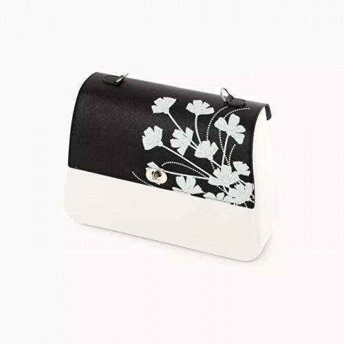 O bag queen .rabat saffiano fantaisie fleurs
