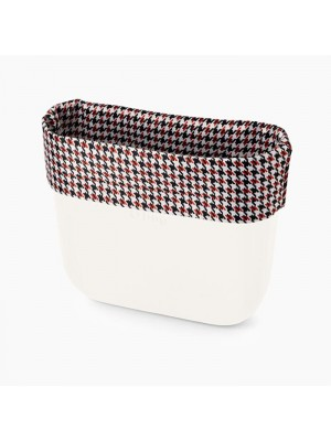 O bag .bordure tissu pied-de-poule tricolore